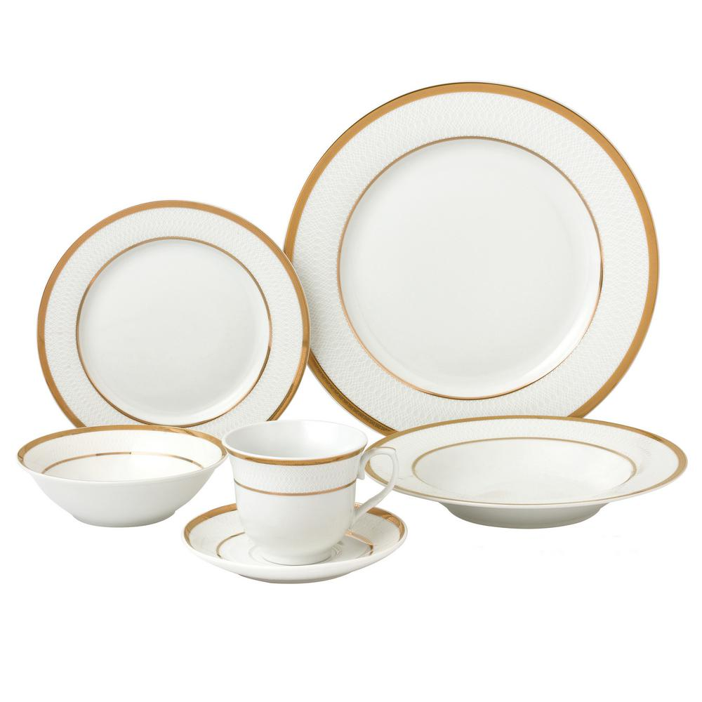 Lorren Home Trends 24-Piece Gold Porcelain Dinnerware Service for 4-Josephine  sc 1 st  Home Depot & Lorren Home Trends 24-Piece Gold Porcelain Dinnerware Service for 4 ...