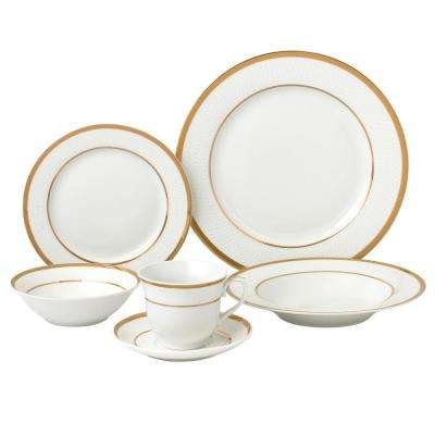 24-Piece Gold Porcelain Dinnerware Service for 4-Josephine