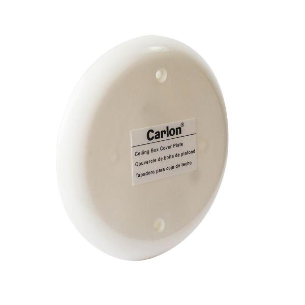 Carlon 4 In White Non Metallic Round Blank Ceiling Box Cover Cpc4wh The Home Depot