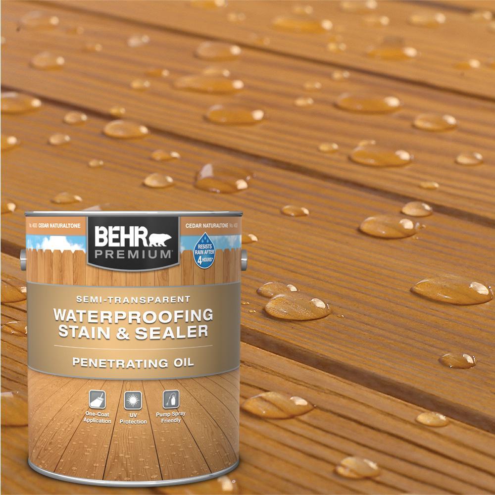 BEHR Premium 1 Gal. #ST-533 Cedar Naturaltone Semi-Transparent Penetrating Oil-Based Exterior Waterproofing Wood Stain