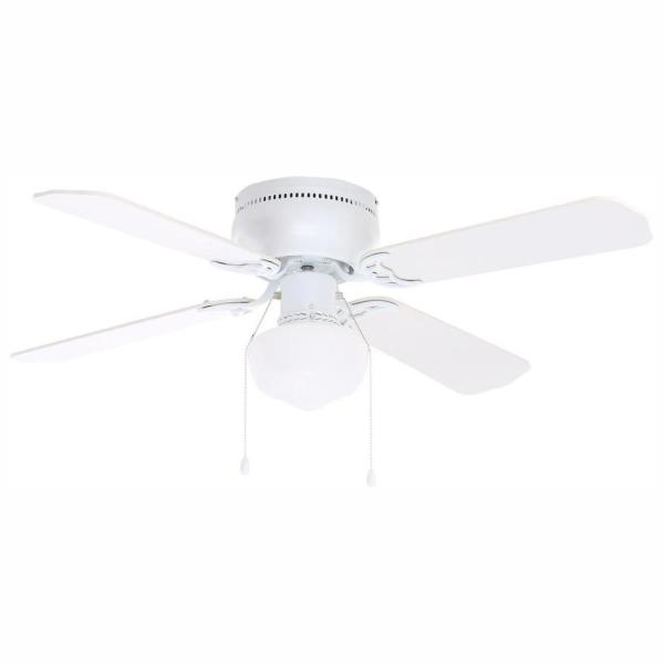 Littleton 42 in. LED Indoor White Ceiling Fan with Light Kit-UB42S-WH-SH -  The Home Depot | White Low Profile 42 Ceiling Fan Wiring Diagram Model |  | The Home Depot