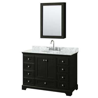 Deborah 48 in. Single Vanity in Dark Espresso with Marble Vanity Top in White Carrara with White Basin and Med Cabinet