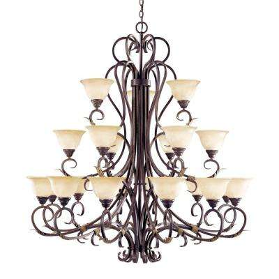 Olympus Tradition Collection 21-Light Crackled Bronze with Silver Chandelier with Tea-Stained Glass Shades
