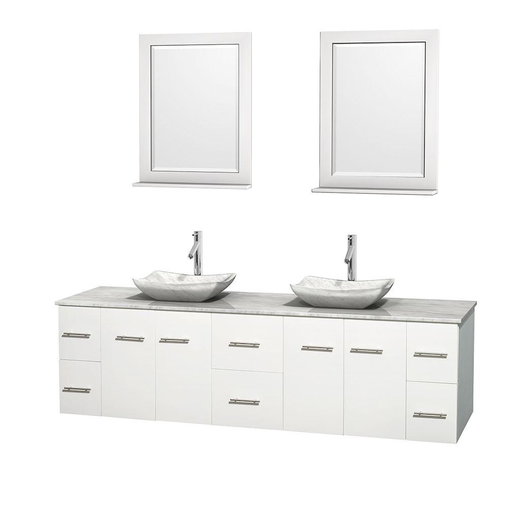 Wyndham Collection Centra 80 in. Double Vanity in White with Marble Vanity Top in Carrara White, Marble Sinks and 24 in. Mirror