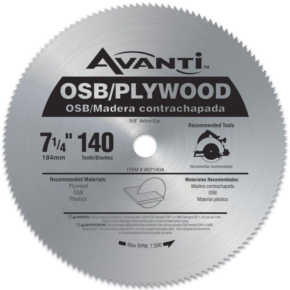 Click here to buy Avanti 7-1/4 inch x 140-Teeth OSB/Plywood Saw Blade by Avanti.