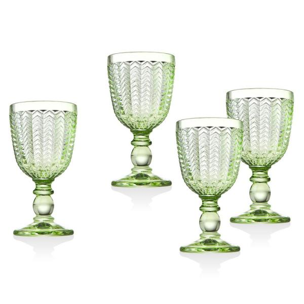 Godinger Twill 6 Oz Green Crystal White Wines Set Of 4 44672 The Home Depot