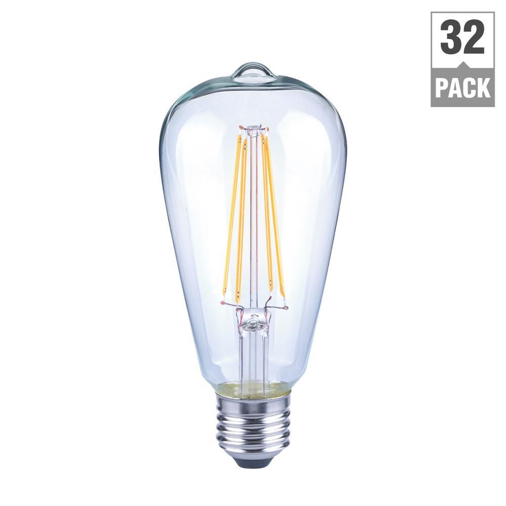 ecosmart 40 watt equivalent st19 dimmable clear filament vintage style led light bulb soft white. Black Bedroom Furniture Sets. Home Design Ideas