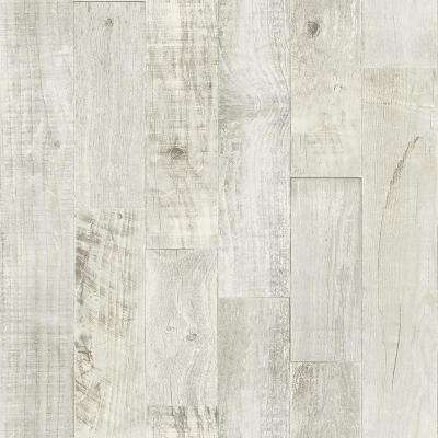 56.4 sq. ft. Chebacco Light Grey Wooden Planks Wallpaper