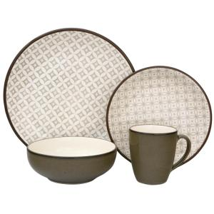 Crystal 16-Piece Green Dinnerware Set  sc 1 st  Home Depot : sango soho dinnerware - pezcame.com