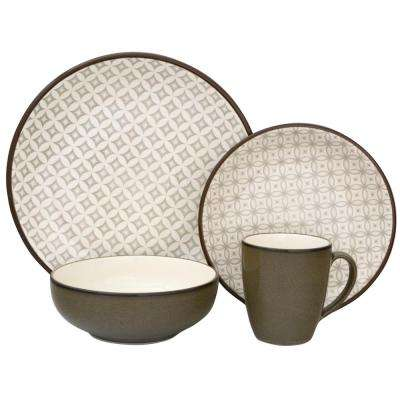 Crystal 16-Piece Green Dinnerware Set