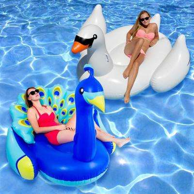 Giant Peacock and White Swan Swimming Pool Float Combo (2-Pack)