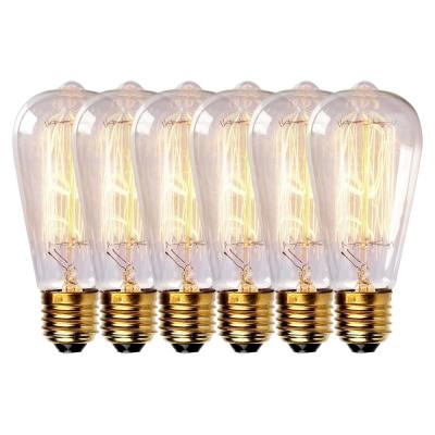 60-Watt Equivalent ST64 Edison Bulbs Incandescent Dimmable Vintage Light Bulb Squirrel Cage E26 Standard Base (6-Bulbs)