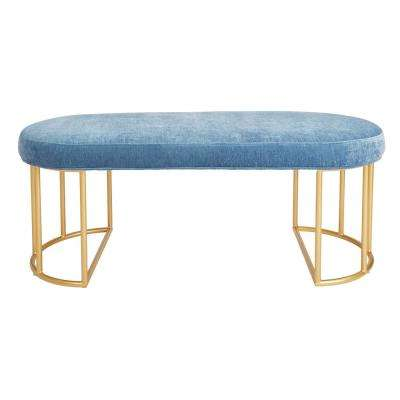 Kinsley Royal Velvet Bench with Gold Frame