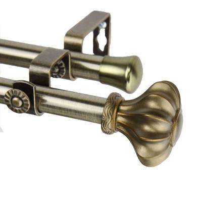 120 in. - 170 in. Telescoping Double Curtain Rod in Antique Brass with Flair Finial