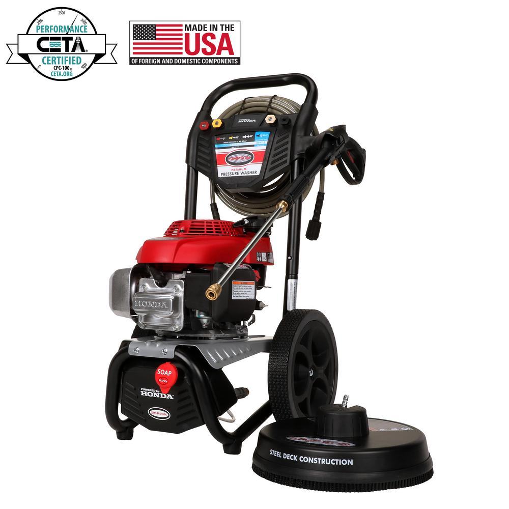 Simpson SIMPSON MegaShot MS60805-S 3000 PSI at 2.4 GPM HONDA GCV160 Cold Water Pressure Washer with Surface Scrubber