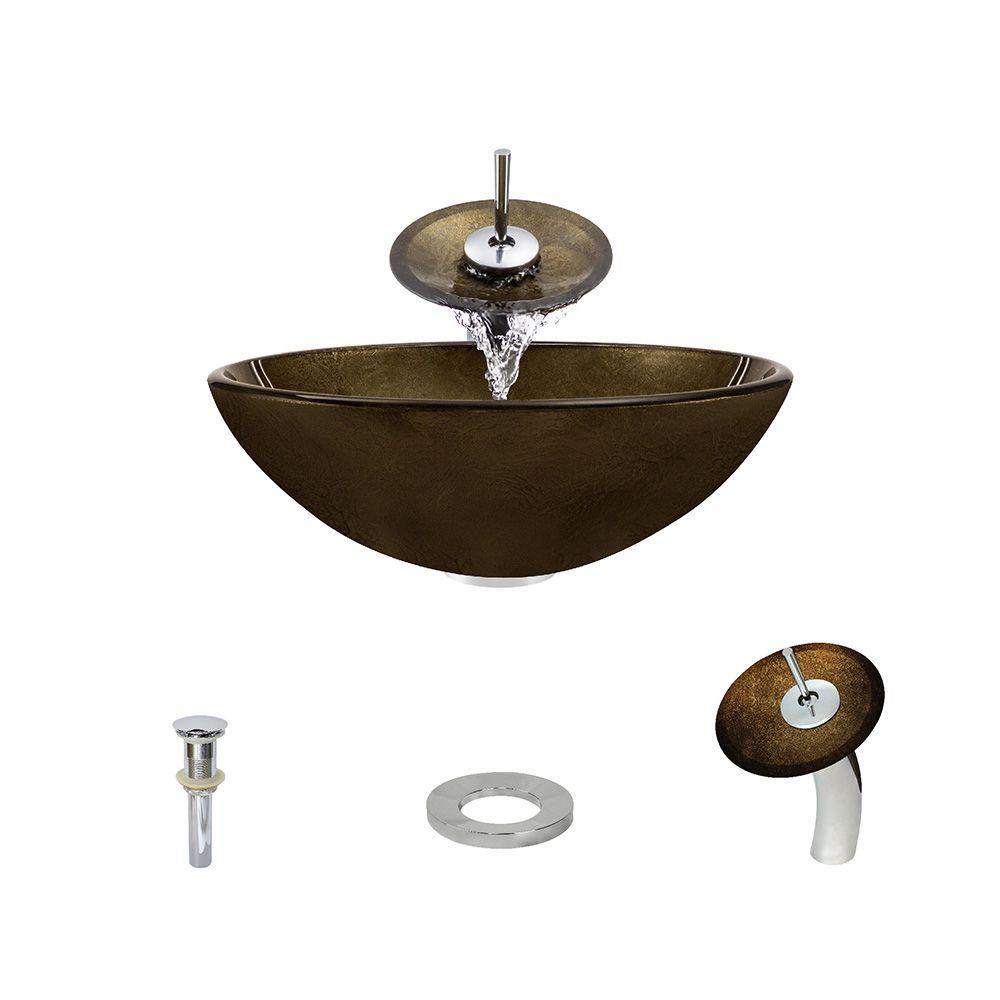 MR Direct Glass Vessel Sink in Foil Undertone with Waterf...