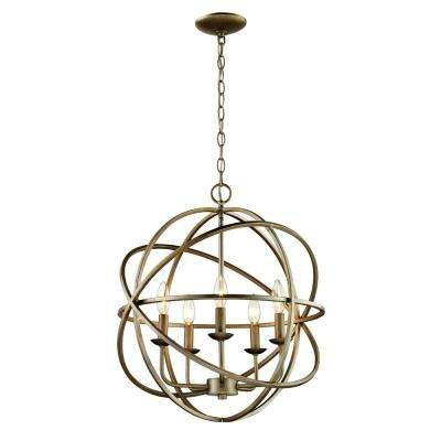 5-Light Antique Silver Multi Ring Orb Chandelier