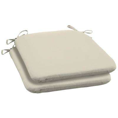 Sand Canvas Texture Square Outdoor Seat Cushion (2-Pack)