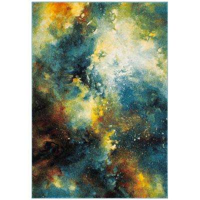 Galaxy Blue/Multi 5 ft. 3 in. x 7 ft. 6 in. Area Rug
