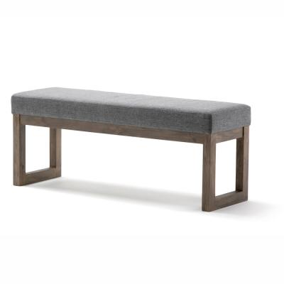 Milltown 44 in. Contemporary Ottoman Bench in Grey Linen Look Fabric