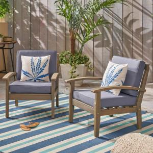 Caldwell Gray Slatted Wood Outdoor Lounge Chairs with Dark Gray Cushions (2-Pack)