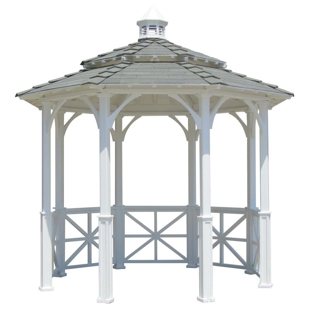 Samsgazebos 10 Ft Octagon English Cottage Garden Gazebo With 2 Tiered Roof And Cupola Adjustable For Uneven Patio 10 Oct E Cupola The Home Depot