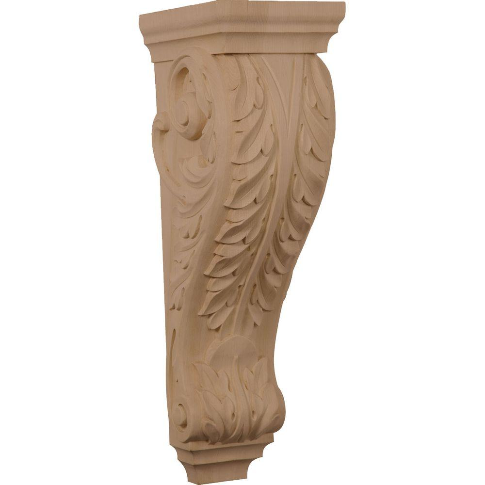 Ekena Millwork 8 in. x 6-1/2 in. x 22 in. Unfinished Wood Red Oak Small Jumbo Acanthus Corbel