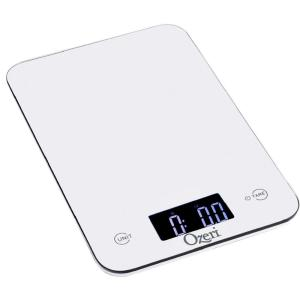 Click here to buy Ozeri Touch Professional Digital Kitchen Scale (12 lbs. Edition), Tempered Glass in White by Ozeri.