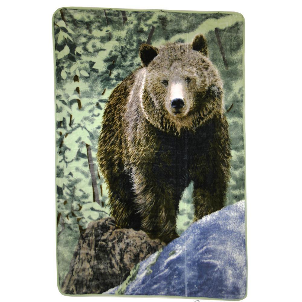 80 in. x 60 in. High Pile Bear on Rock Raschel Knit Throw
