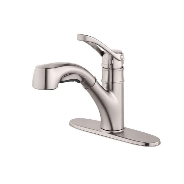 Prive Single-Handle Pull-Out Sprayer Kitchen Faucet in Stainless Steel