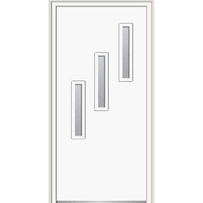 30 in. x 80 in. Davina Right-Hand Inswing 3-Lite Frosted Modern Painted Steel Prehung Front Door on 6-9/16 in. Frame