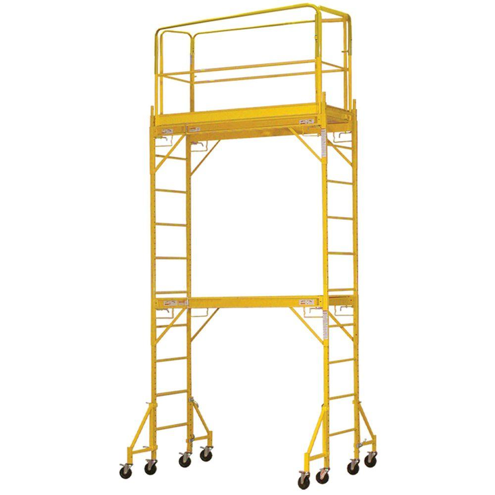 PRO-SERIES 12 ft. 2-Story Rolling Scaffold Tower 1000 lb. Load Capacity-DISCONTINUED