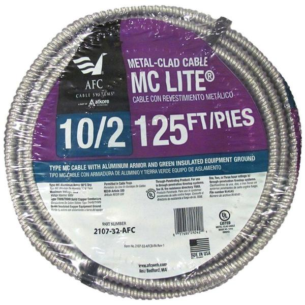 10/2 x 125 ft. Solid MC Lite Cable