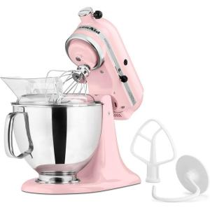 KitchenAid Artisan 5 Qt. 10-Speed Pink Stand Mixer with Flat ...