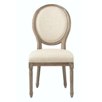 Jacques Antique Brown Natural Linen Round Back Dining Chair (Set of 2)