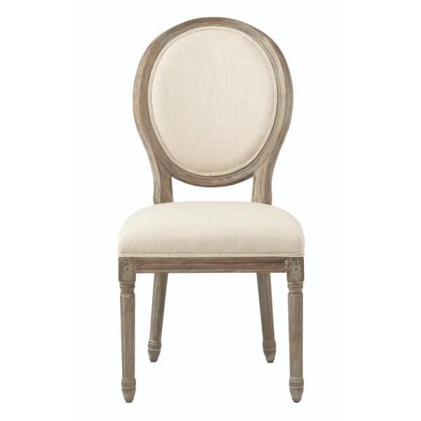 Home Decorators Collection Jacques Antique Brown Natural Linen Round Back Dining