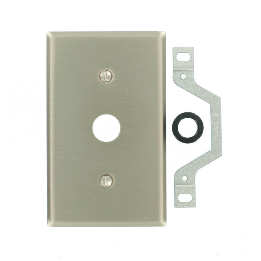 leviton 1gang standard size in dia phonecable opening strap mount wall plate in stainless the home depot