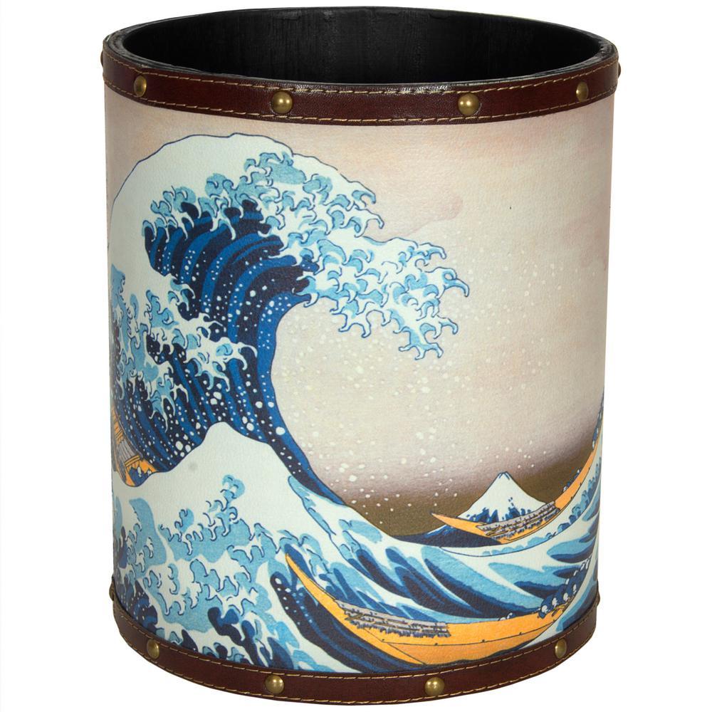 Oriental Furniture 8.25 in. x 10 in. Great Wave off Kanagawa Waste Basket
