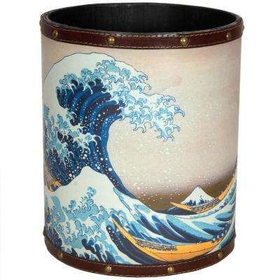 Oriental Furniture 8.25 in. x 10 in. Great Wave off Kanagawa Waste Basket