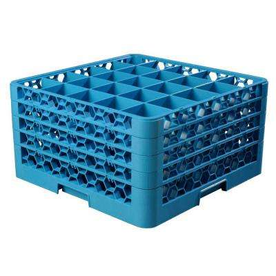 19.75x19.75 in. 25-Compartment 4 Extenders Glass Rack (for Glass dia. 3.25 in., H 9.50 in.) in Blue (Case of 2)