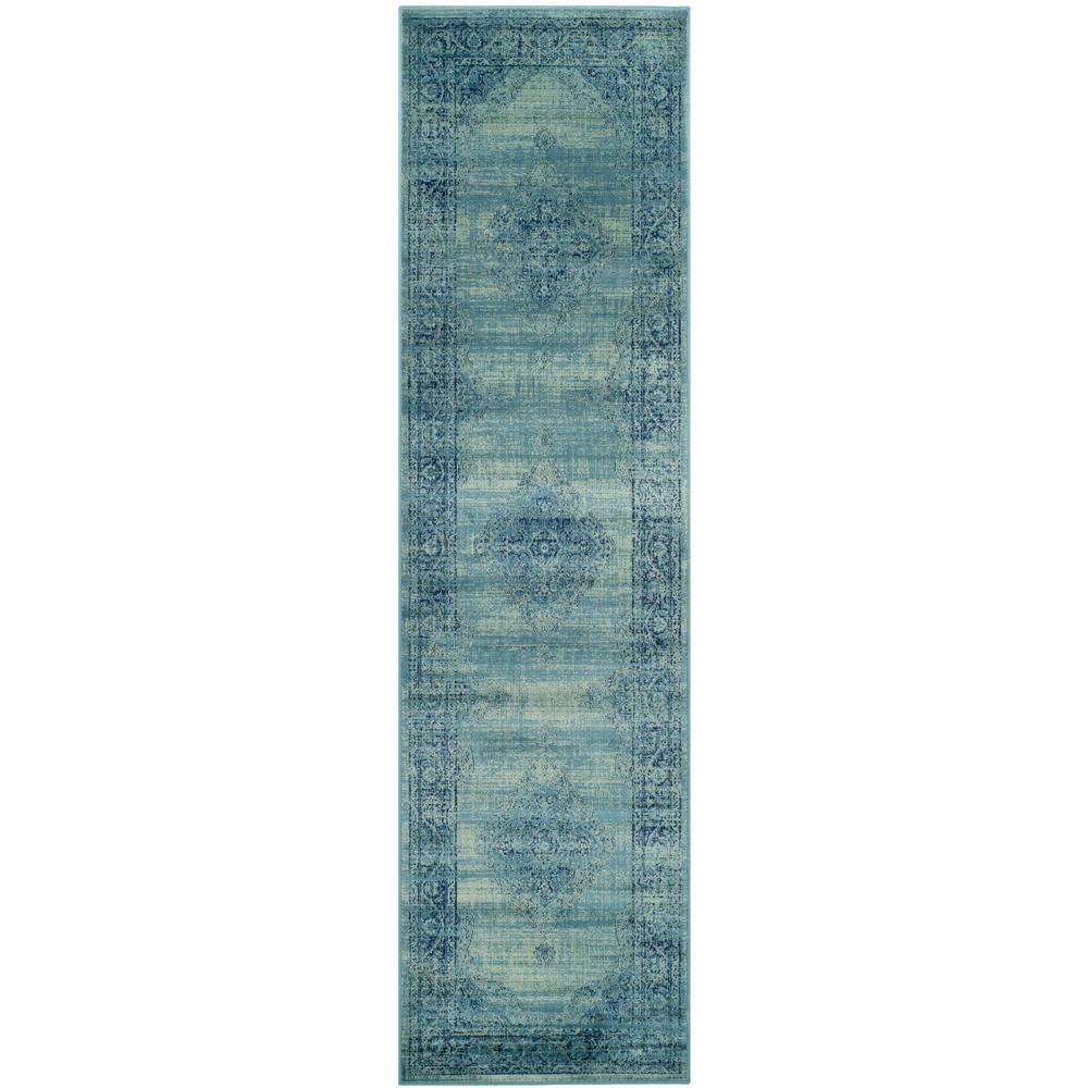 Vintage Turquoise/Multi 2 ft. x 10 ft. Runner Rug