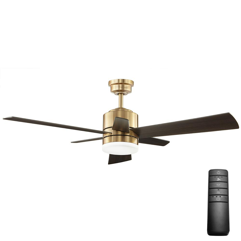 Home Decorators Collection Hexton 52 In Led Indoor Brushed Gold Ceiling Fan With Light Kit And