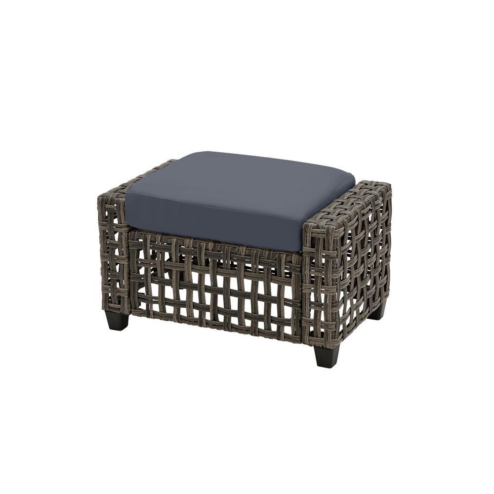 Briar Ridge Brown Wicker Outdoor Patio Ottoman with CushionGuard Sky Blue Cushions