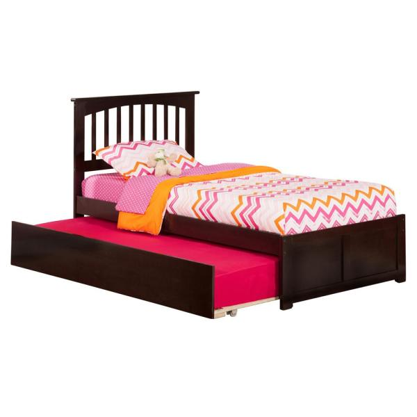 Atlantic Furniture Mission Espresso Twin Platform Bed with Flat Panel Foot