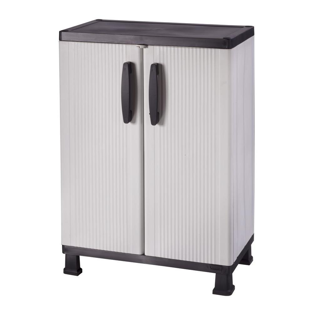 HDX 27 in  W 4 Shelf Plastic Multi-Purpose Cabinet in Gray
