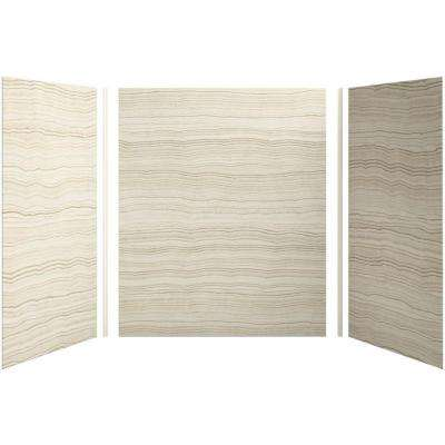 Choreograph 60in. X 42 in. x 72 in. 5-Piece Bath/Shower Wall Surround in VeinCut Biscuit for 72 in. Bath/Showers