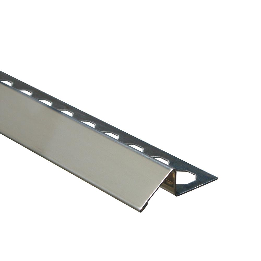 Emac Novonivel Brushed 1/2 in. x 98-1/2 in. Stainless Steel Tile Edging Trim