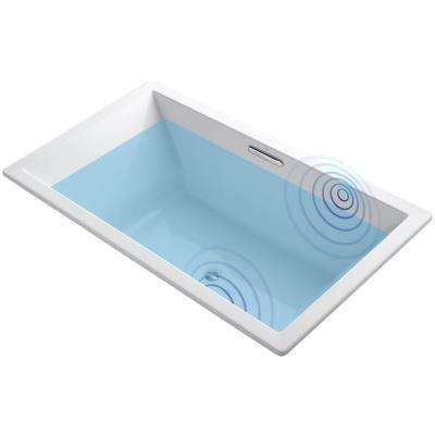 Underscore 6 ft. Acrylic Rectangular Drop-in Non-Whirlpool Bathtub in White with Wireless Music Kit
