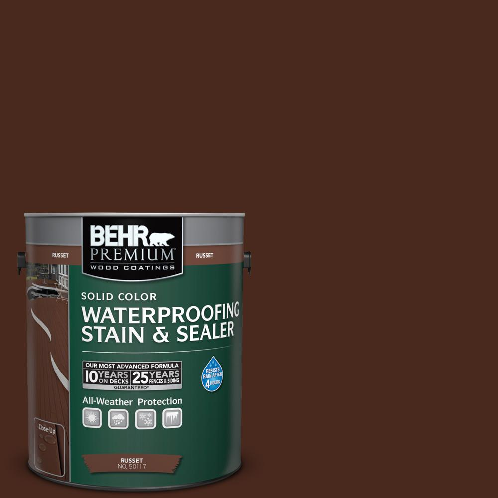Behr premium 1 gal sc 117 russet solid color - Behr exterior wood stain reviews ...