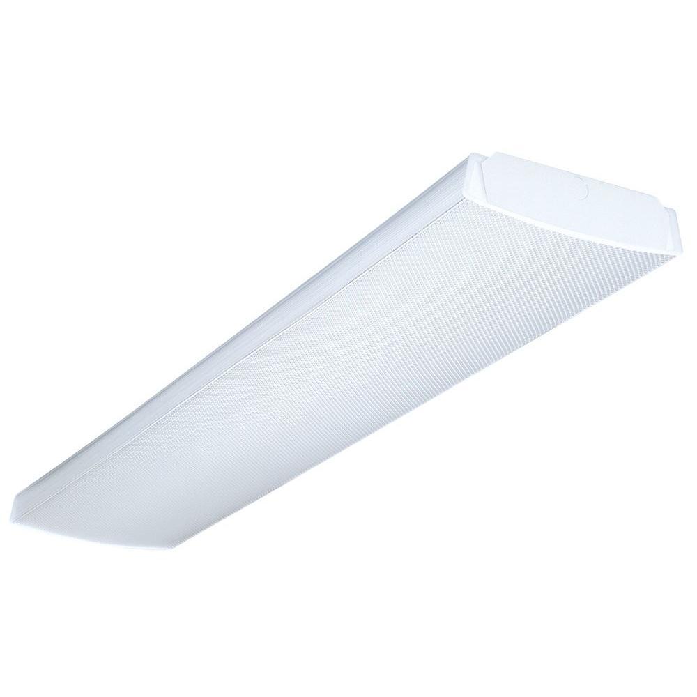 Multi-Volt 2-Light White T5 Fluorescent High Output Wraparound Fixture